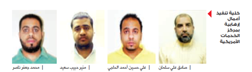 Photo of the group accused of performing terrorist acts among them the detainee Ali Al-Haji