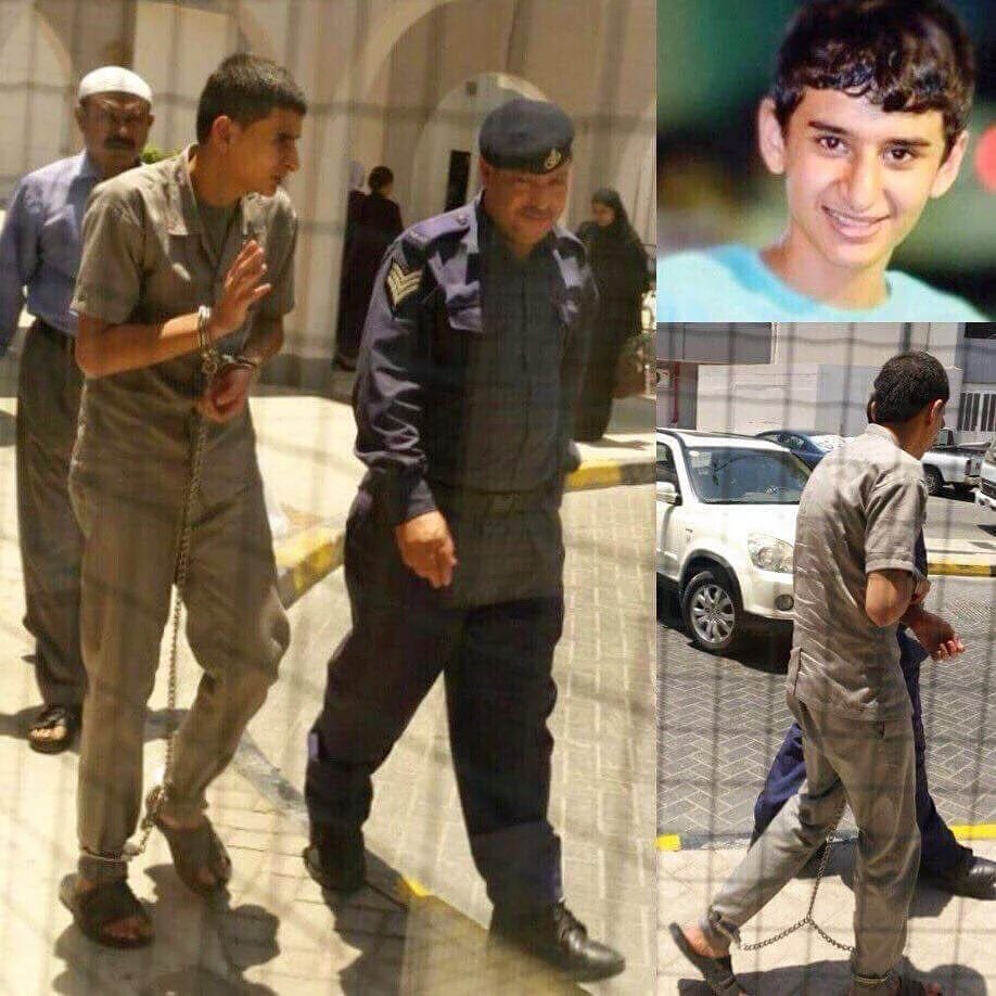 Detainee Ebrahmi AlMiqdad fully chained in hands and legs