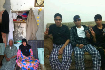 Left: Ashour Hassan with his wife Maryam Sabt. Right: Younis, Sadiq and Jassim